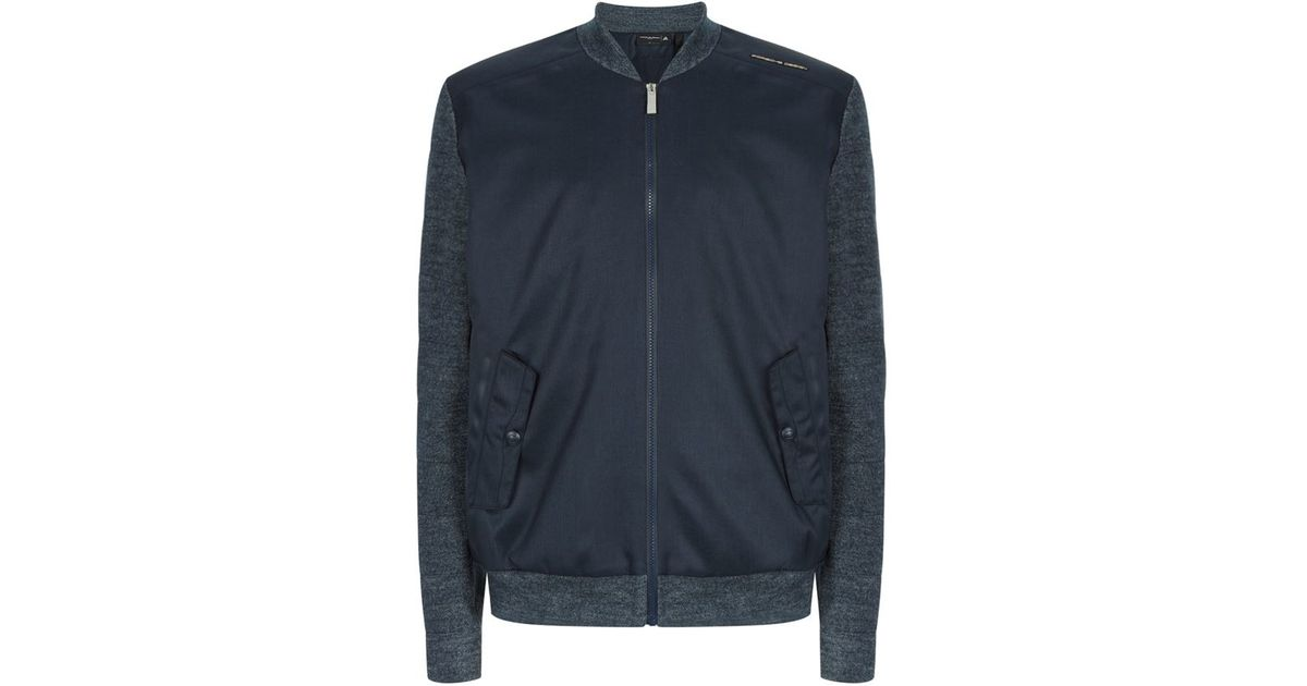 8f209424d Porsche Design Blue Contrast Sleeve Bomber Jacket for men