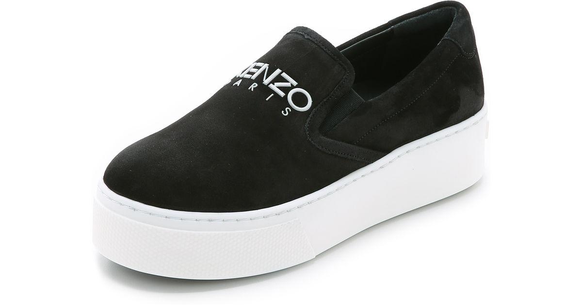 KENZO Suede Slip On Sneakers - Black - Lyst