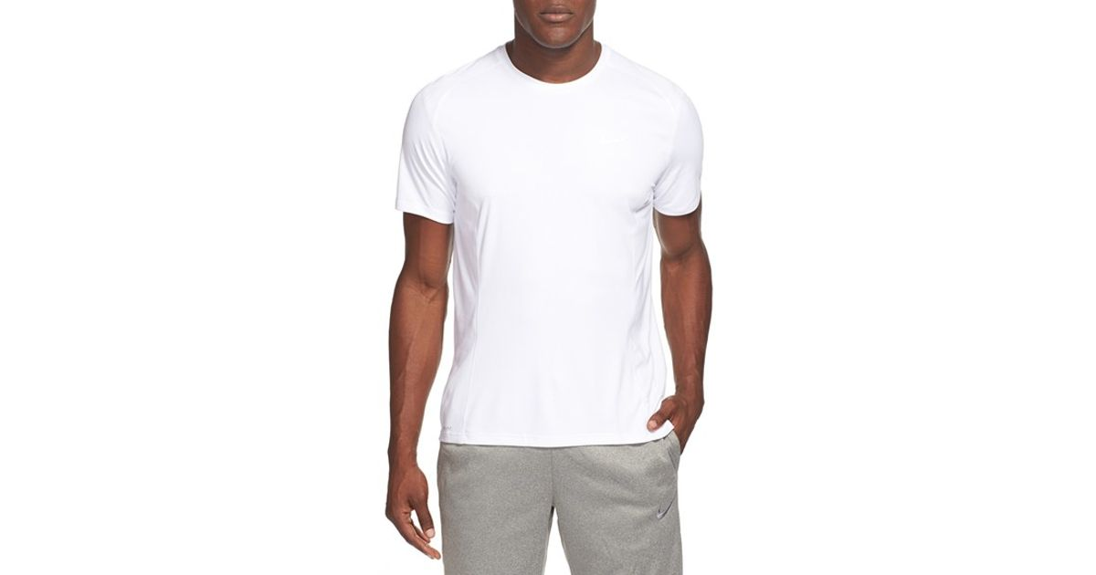 Nike 39 Miler 39 Dri Fit Uv Protection T Shirt In White For