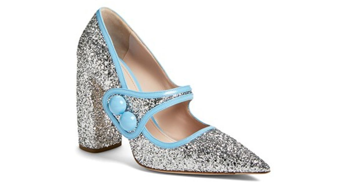 Miu Miu Glitter Mary Jane in Silver