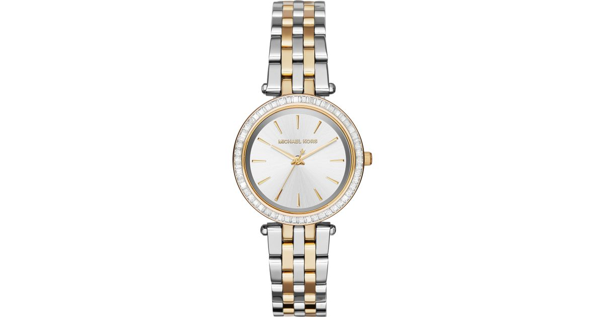 3f2fd07c2aa2 Lyst - Michael Kors Mini Darci Pave Two-tone Stainless Steel Bracelet Watch  in Metallic