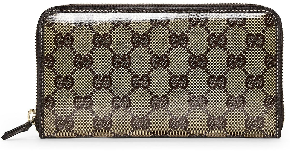 8720351c90c Lyst Gucci Beige Gg Crystal Canvas Continental Wallet In Natural