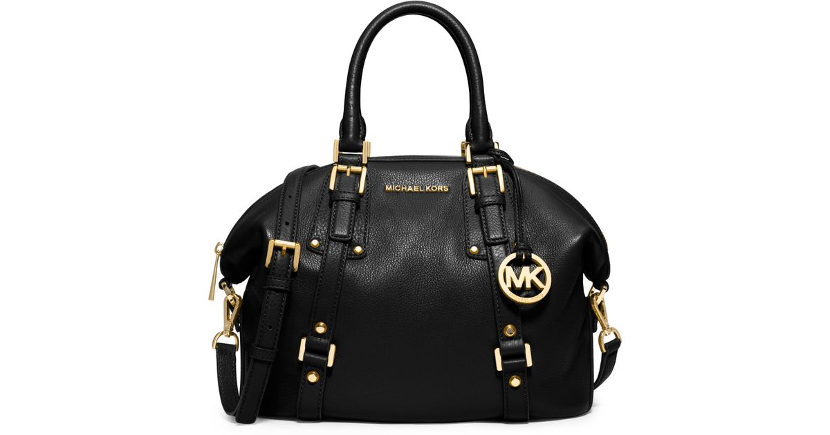 michael kors bedford medium leather satchel in black lyst. Black Bedroom Furniture Sets. Home Design Ideas
