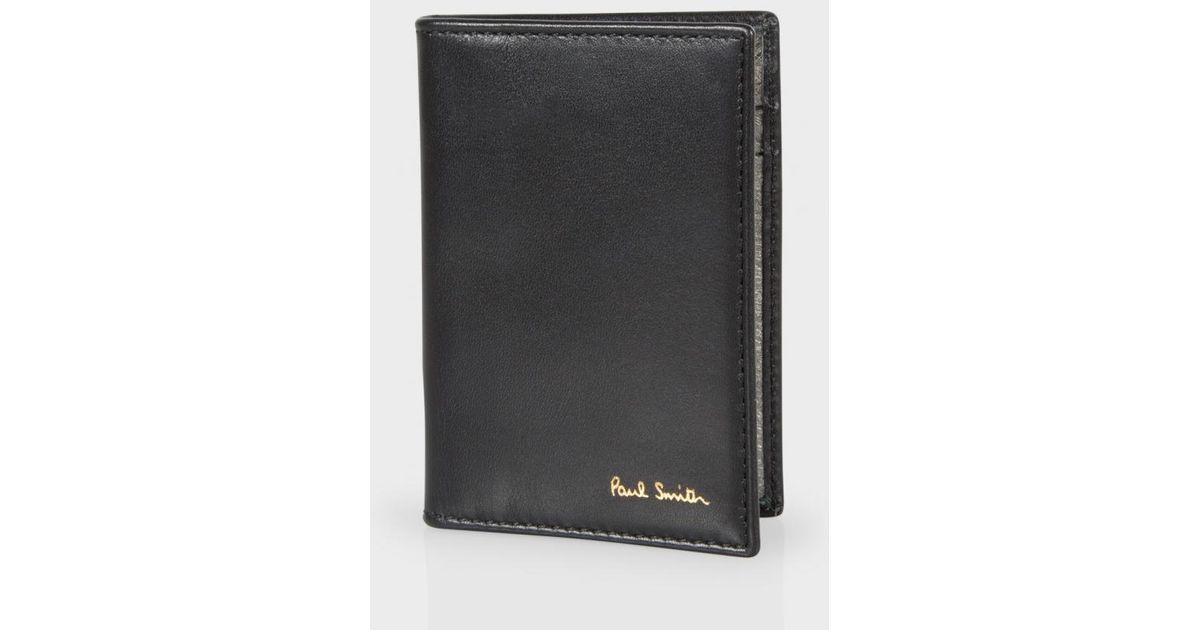 Paul Smith Men 39 S Black Leather Metallic Interior Credit Card Wallet In Black For Men Lyst