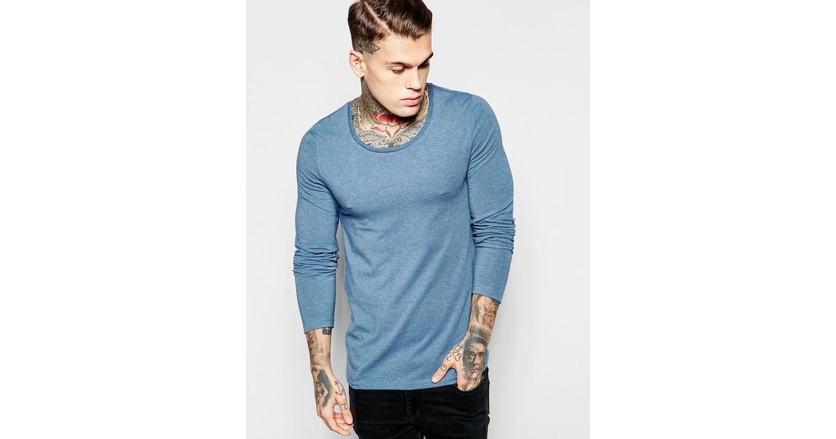 Asos muscle long sleeve t shirt with scoop neck in blue for Scoop neck long sleeve shirt