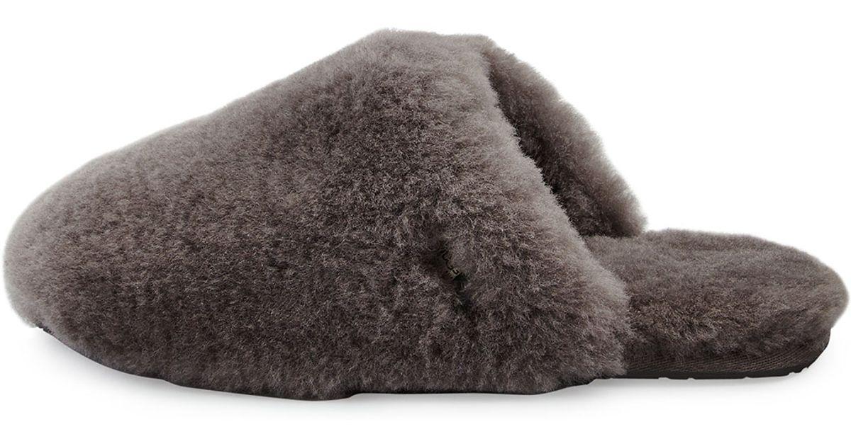cce9bfd1640 UGG Gray Fluff Clog Slipper