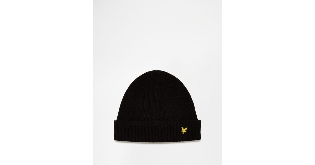 abe27916d Lyle & Scott Black Racked Rib Beanie Hat for men