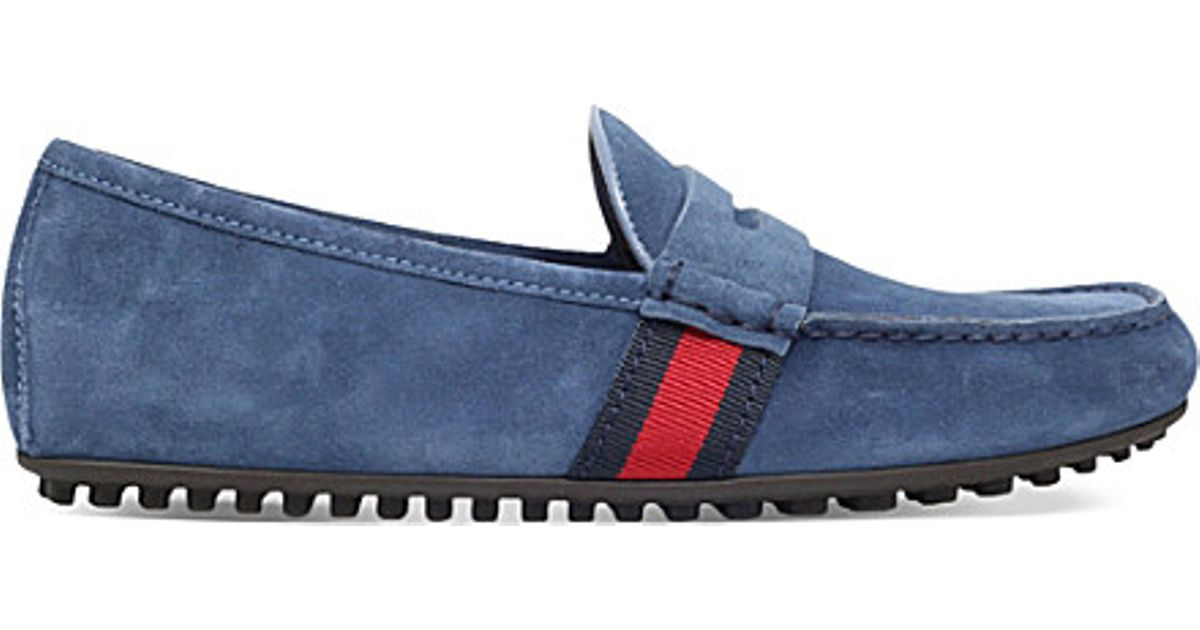 7625d3cce Gucci Kanye Suede Driving Shoes in Blue for Men - Lyst