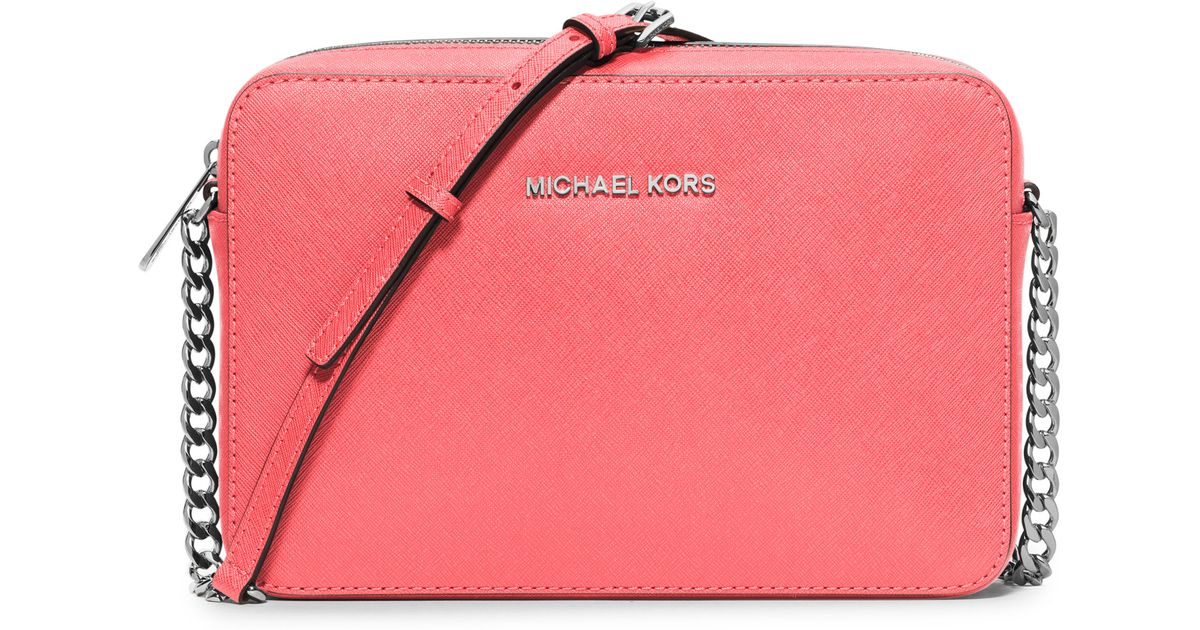 cedd4676748d MICHAEL Michael Kors Jet Set Travel Large Saffiano Leather Crossbody Bag in  Pink - Lyst