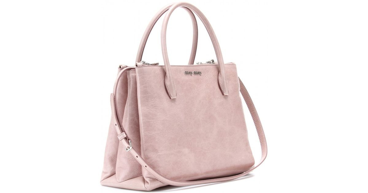 Lyst - Miu Miu Glazed Leather Tote in Pink