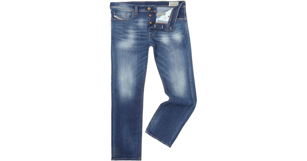 diesel larkee relaxed 848c loose fit stretch jeans in blue. Black Bedroom Furniture Sets. Home Design Ideas