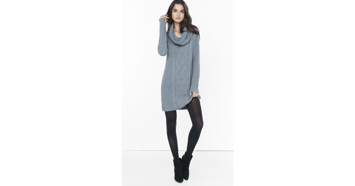 Express Gray Cowl Neck Cable Knit Sweater Dress in Gray | Lyst
