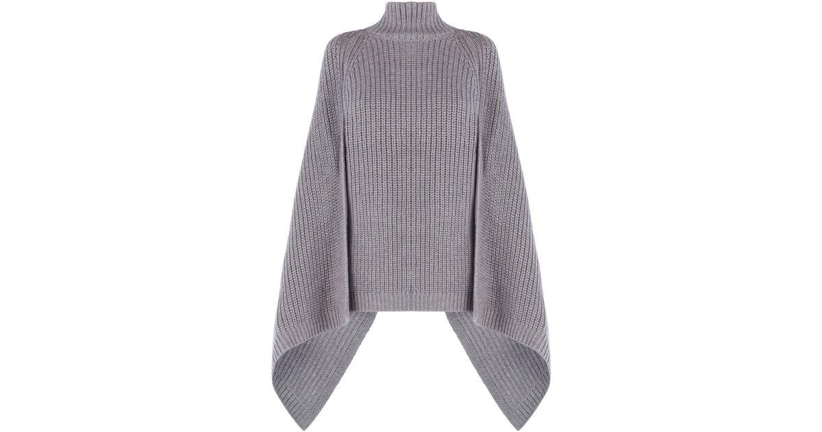 Bcbgmaxazria Jacinta Turtleneck Draped Sweater in Gray | Lyst