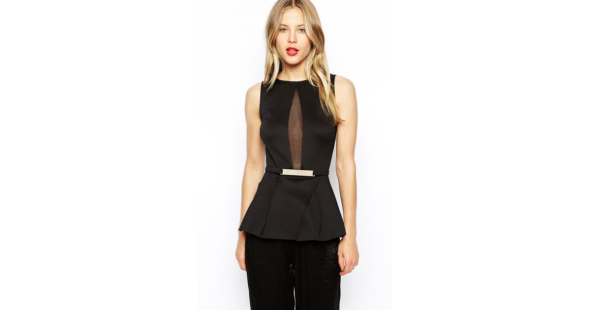 4c7f21754de3db ASOS Peplum Top With Mesh And Gold Bar in Black - Lyst