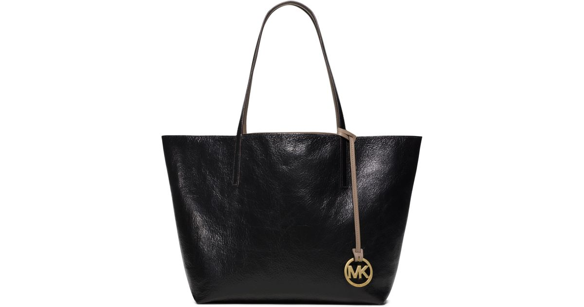 989979b5ccab90 Michael Kors Izzy Large Reversible Leather Tote Bag in Black - Lyst