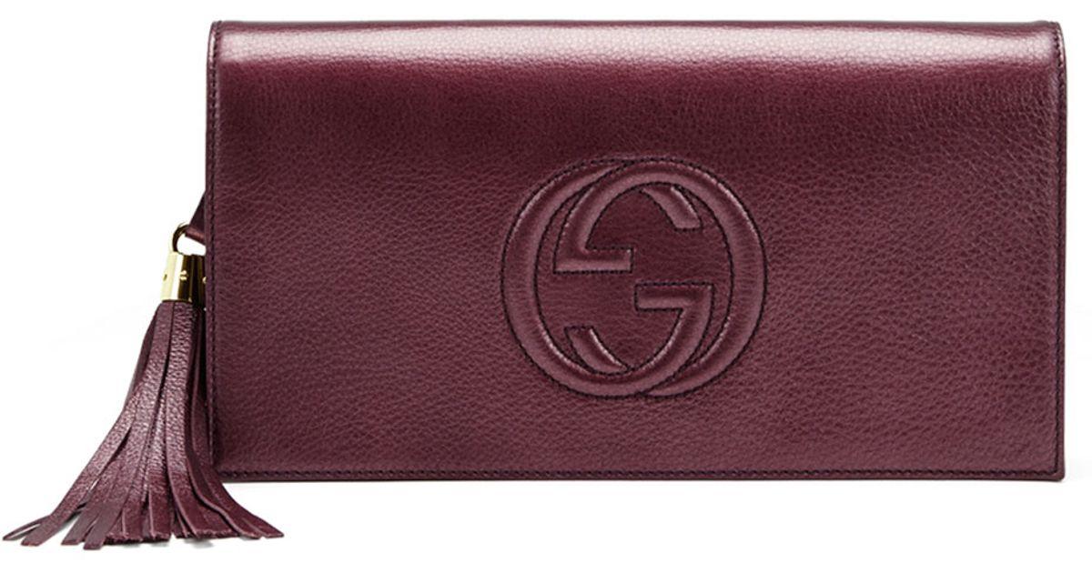 c0aa12e2 Gucci Purple Soho Metallic Leather Clutch Bag