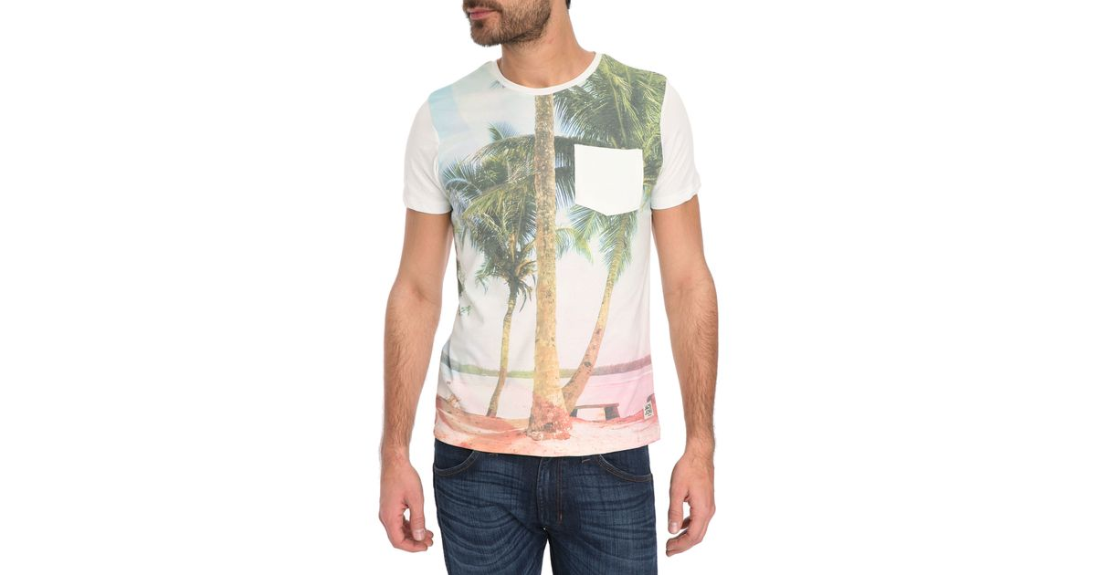 jack jones hawa sun printed t shirt in white for men lyst. Black Bedroom Furniture Sets. Home Design Ideas