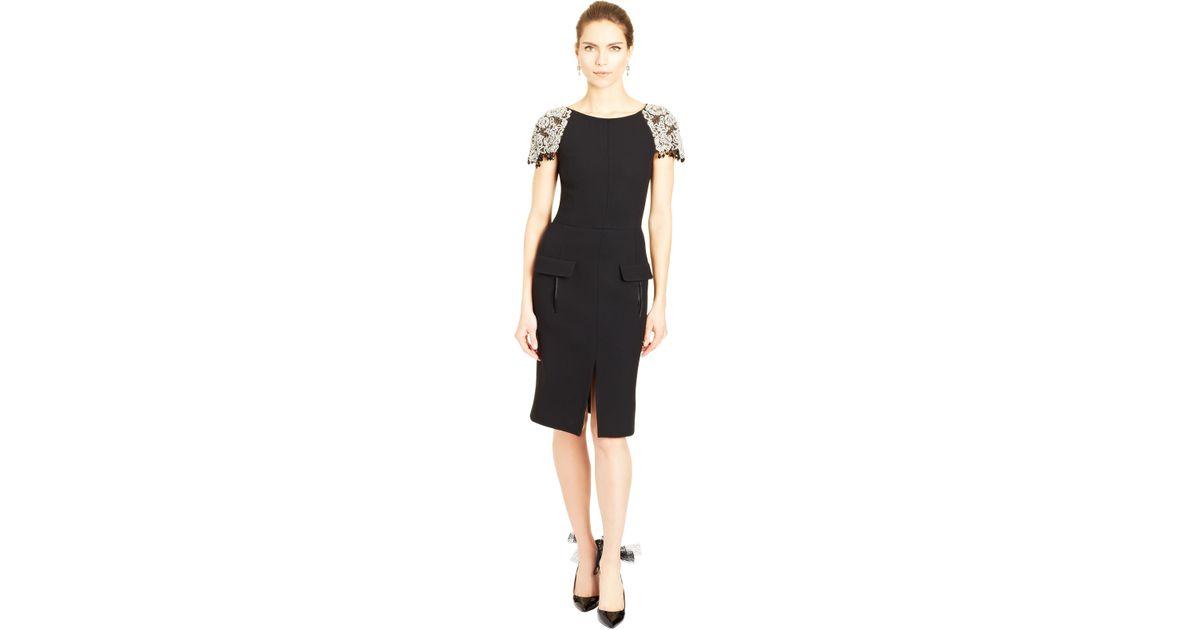 168ea5a164a Oscar de la Renta Cap Sleeve Crystal Embroidered Dress in Black - Lyst