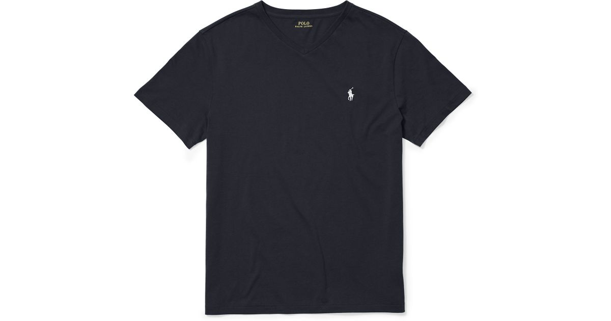2e359714b ... classic fit t bcd5e c64ae  greece lyst polo ralph lauren cotton jersey v  neck t shirt in black 50b2b fee59