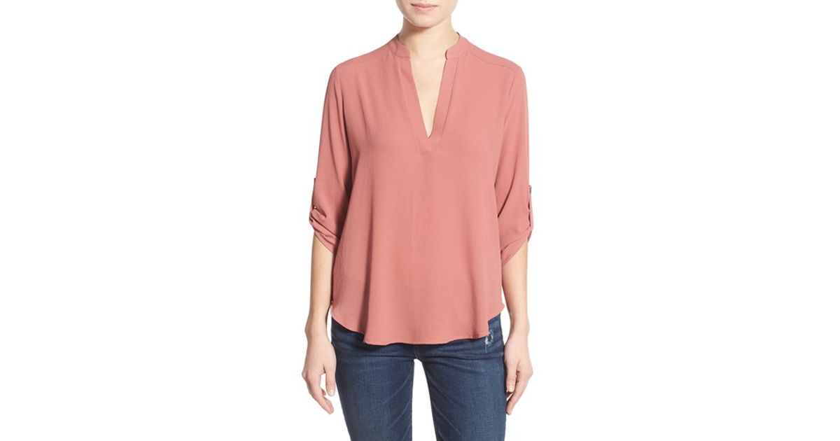 Lush Roll Tab Sleeve Woven Shirt In Pink Misty Lilac Lyst