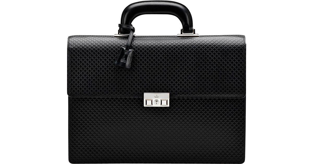 Gucci Mens Diamante Doublegusset Briefcase In Black For