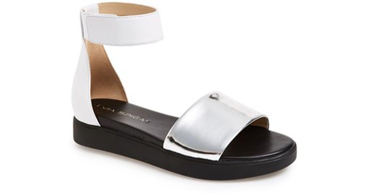 buy cheap release dates Via Spiga Leather Ankle Strap Sandals eastbay sale online big discount authentic online shop for L17eBi