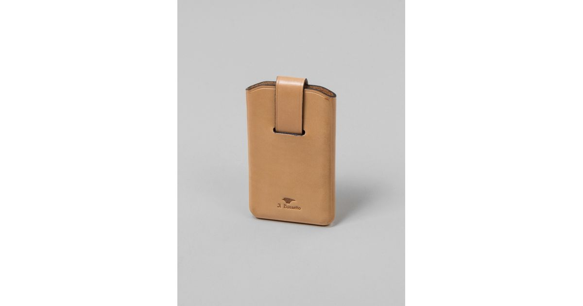 Lyst - Il Bussetto Business Card Holder With Sliding Flap Tan in ...