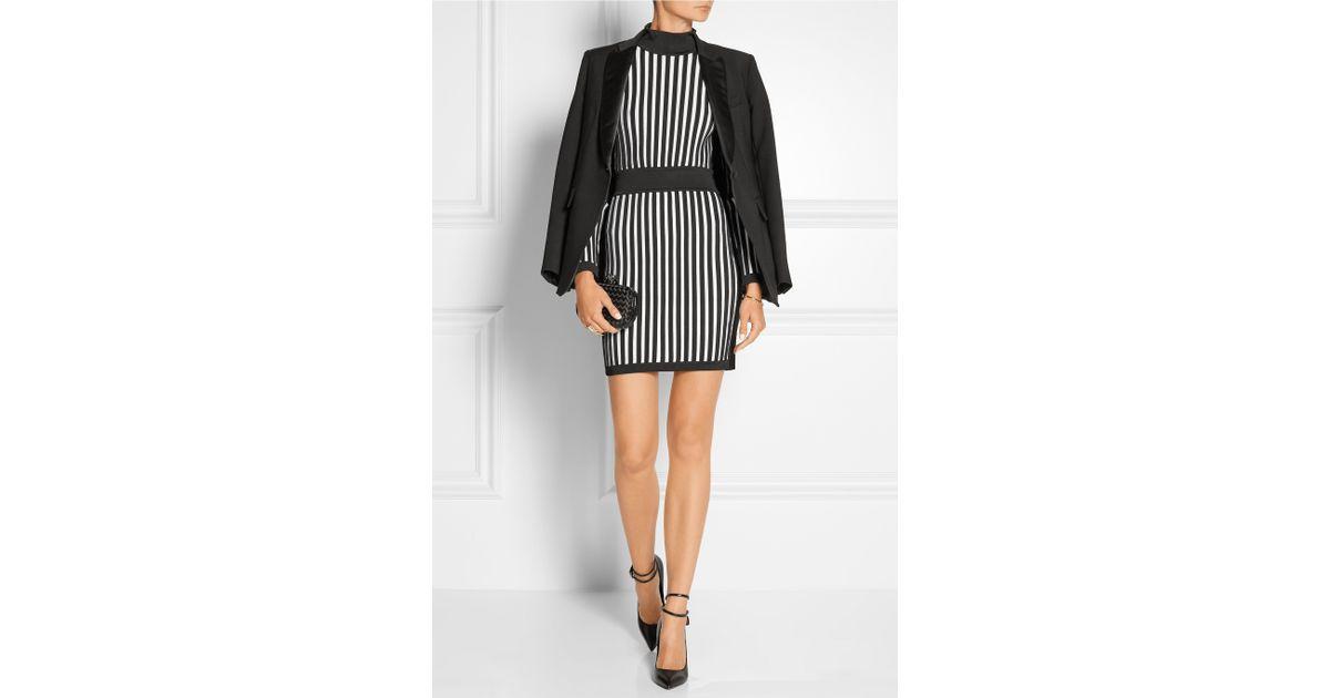 e85593d7 Balmain Striped Stretch-knit Mini Dress in Black - Lyst