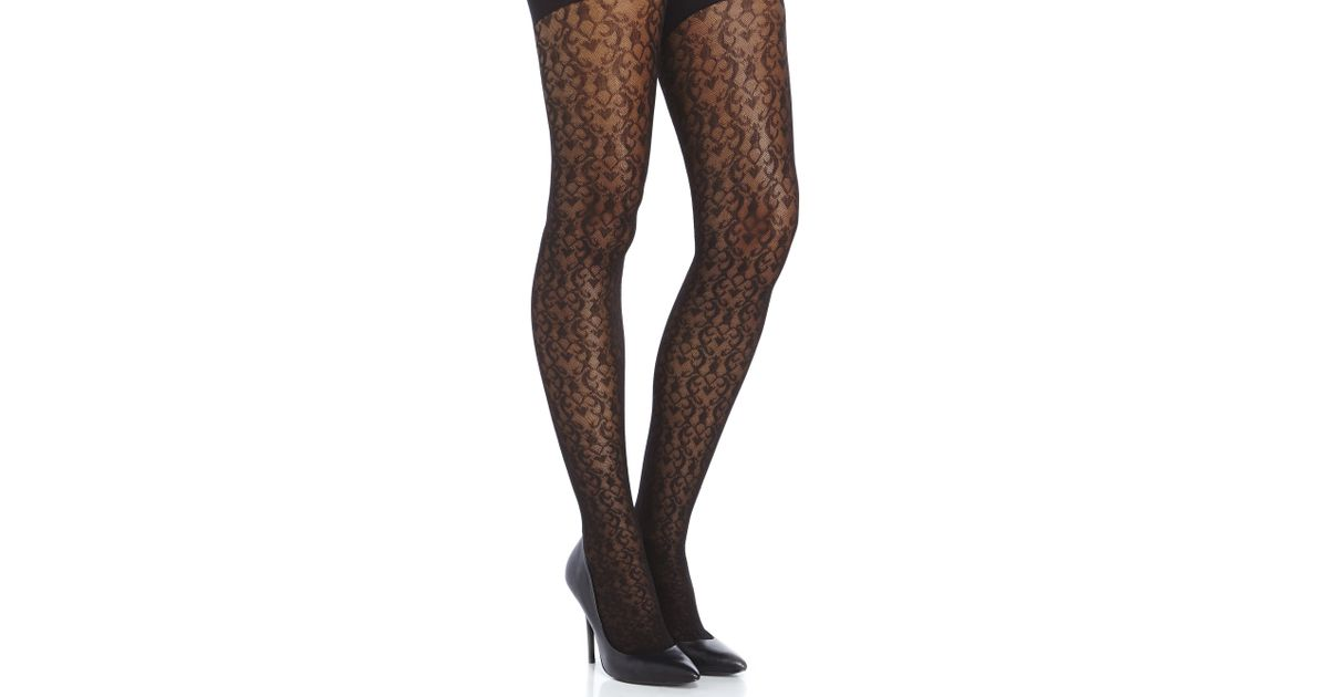 78718075b Spanx Black Filagree Patterned Tight-End Tights in Black - Lyst