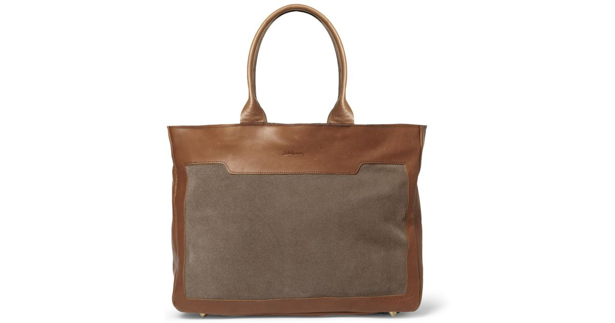 99e291eb207299 Lyst - Bill Amberg Raleigh Leather And Suede Tote Bag in Brown for Men