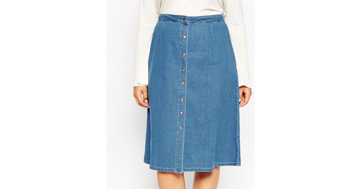 asos curve denim button through western midi skirt in blue