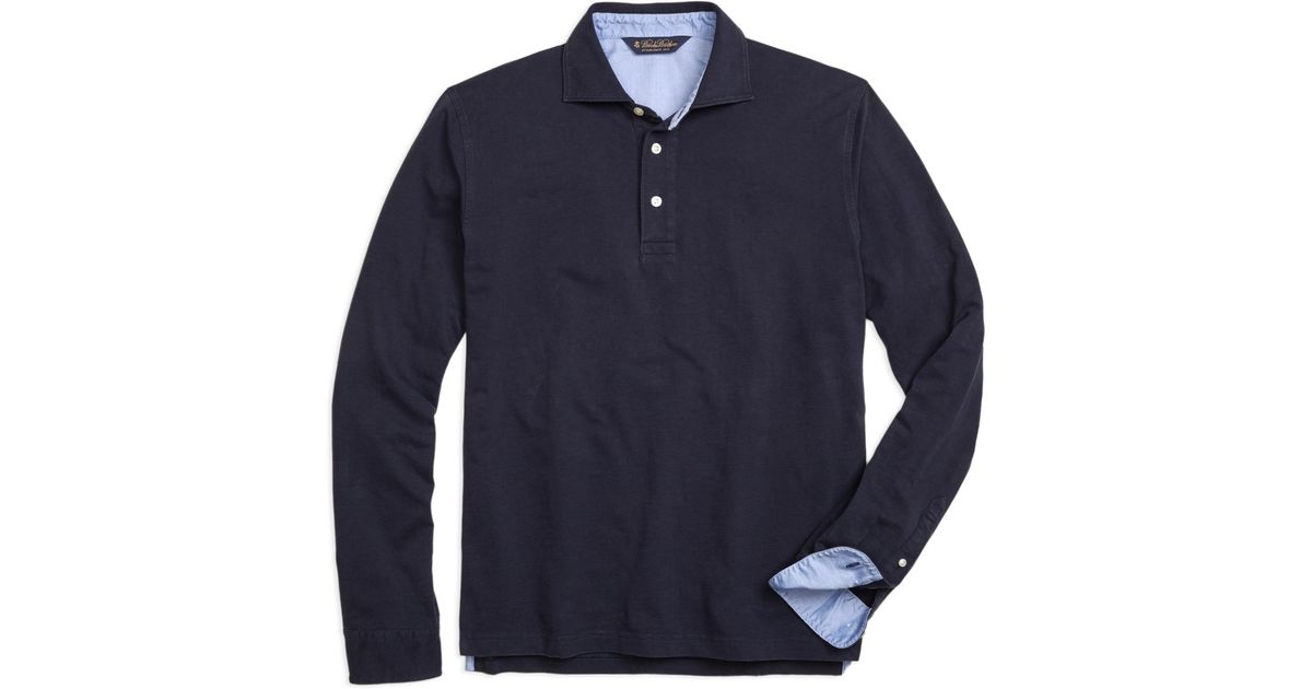 fa68b89a Brooks Brothers Long-sleeve Cotton Linen Polo Shirt in Blue for Men - Lyst