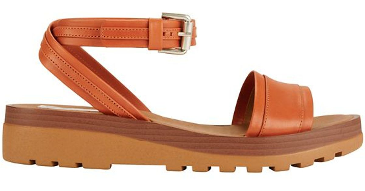 Strap Ankle See Brown Rubber By Wrap Sole Chloé SandalOrange fIy76vYgbm