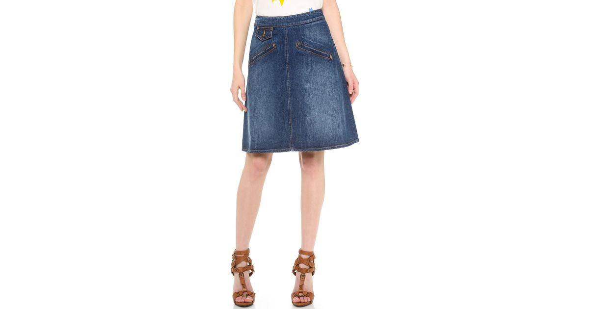 see by chlo 233 knee length denim skirt in blue lyst