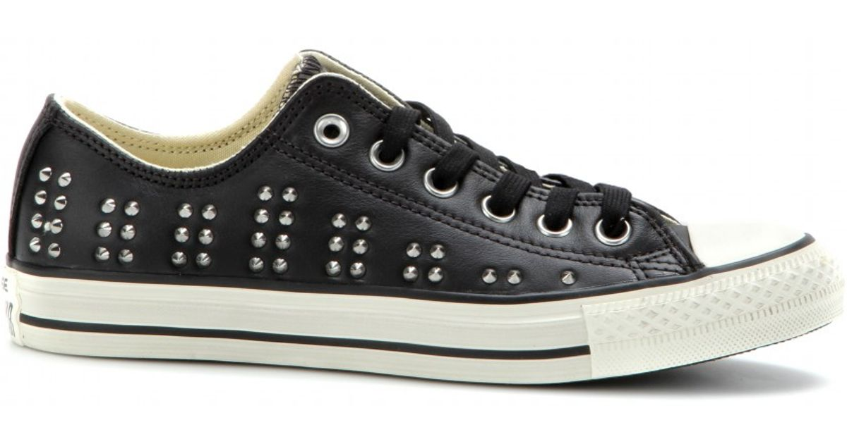 0af539c21fe7 Lyst - Converse Chuck Taylor All Star Low Studded Leather Sneakers in Black