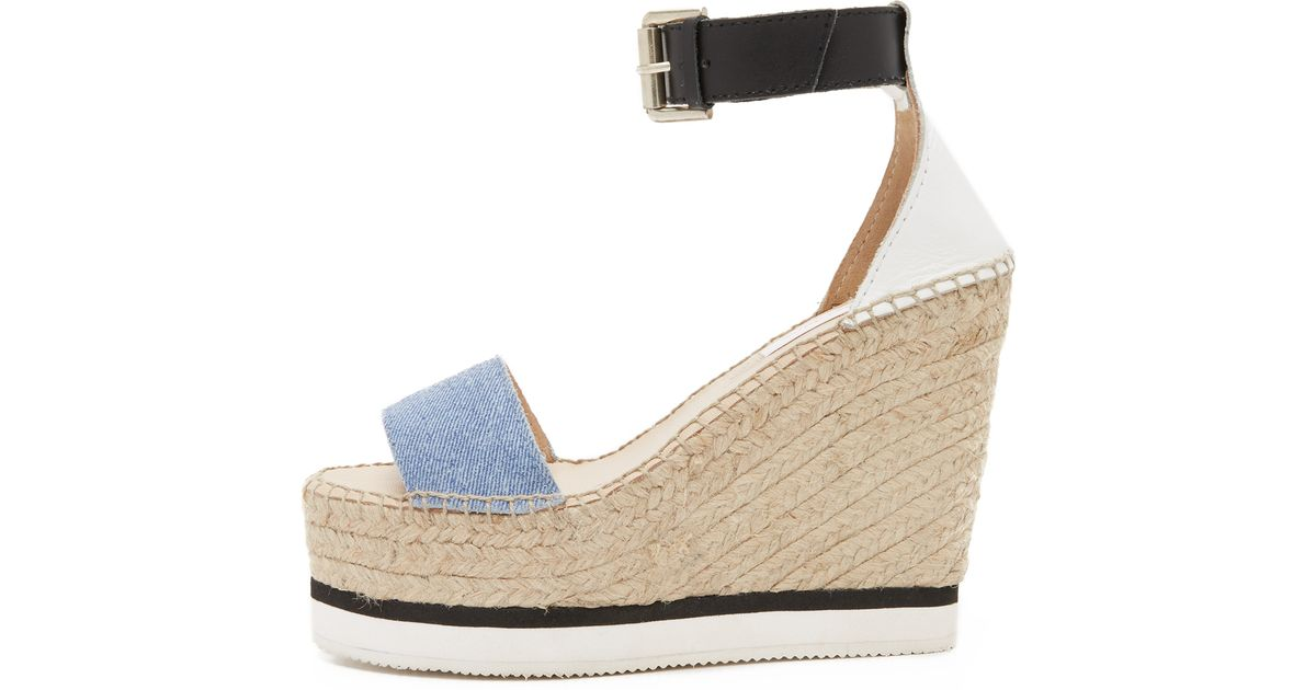 d5a80f254f6 See By Chloé Blue Glyn Espadrille Wedge Sandals