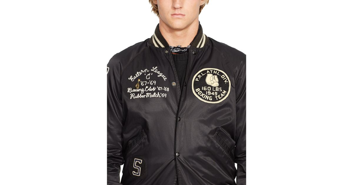Black Jacket Lauren Ralph Men Varsity Reversible For PkXn80NwO