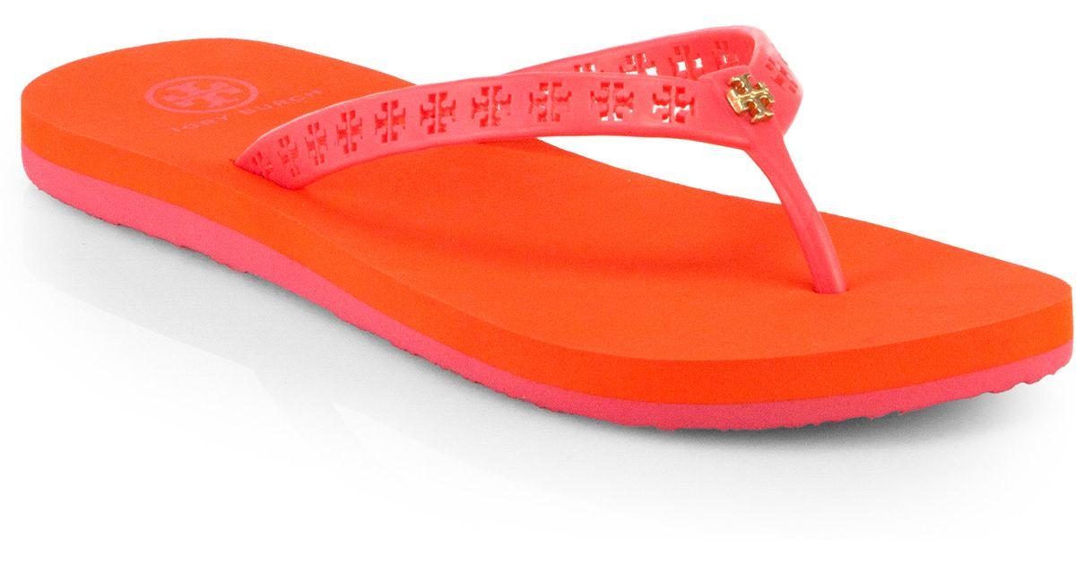 54ef3f8400d1 Lyst - Tory Burch Miranda Flip Flops in Pink