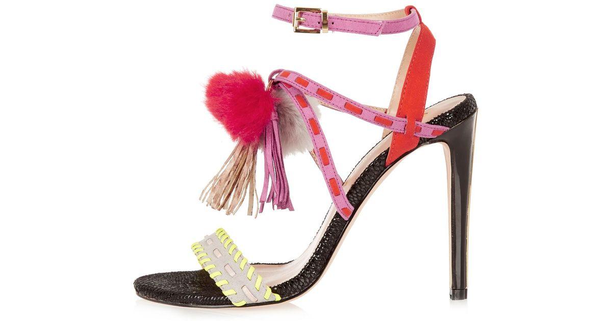 River Island Pink Pom Pom Shoes