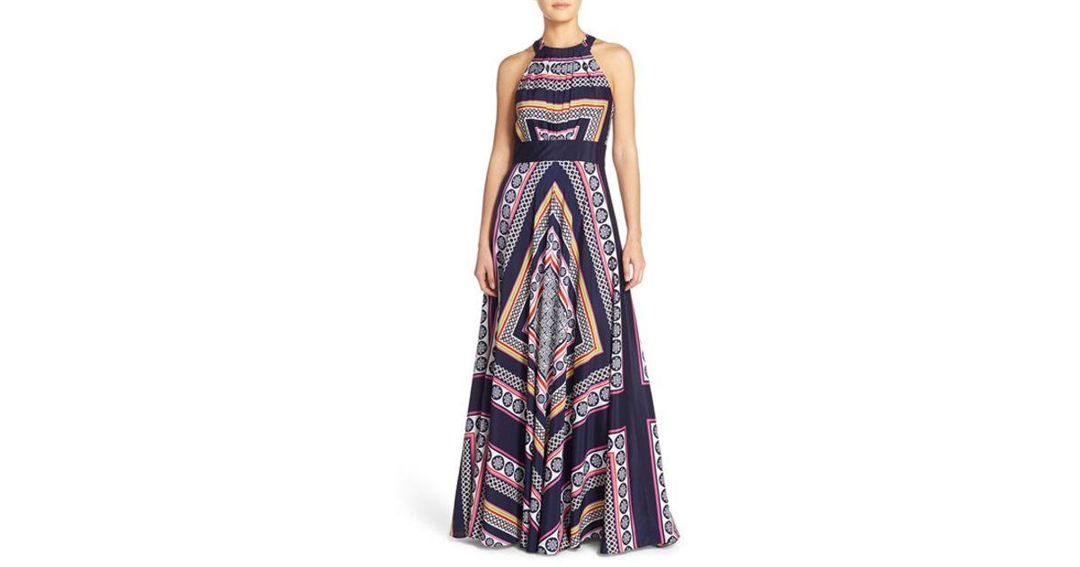 7b36c60df523c Eliza J Blue Scarf Print Crepe De Chine Maxi Dress