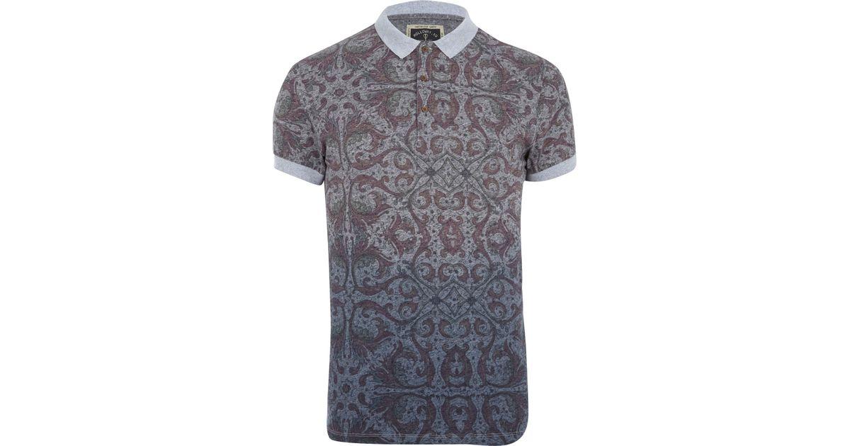 e8ba6e3476679 River Island Grey Holloway Road Abstract Print Polo Shirt in Gray for Men -  Lyst