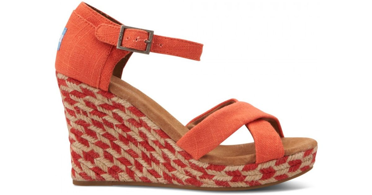 8f44b1a5dc6 Lyst - TOMS Coral Mixed Rope Womens Strappy Wedges in Orange