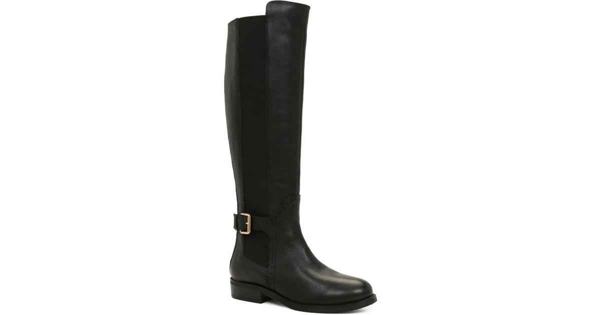 aldo mariette buckle knee high boots in black lyst