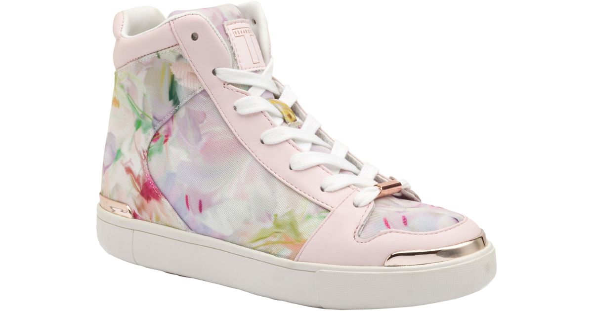 4fbf9bc39 Ted Baker Paryna High Top Flat Trainers in Pink - Lyst