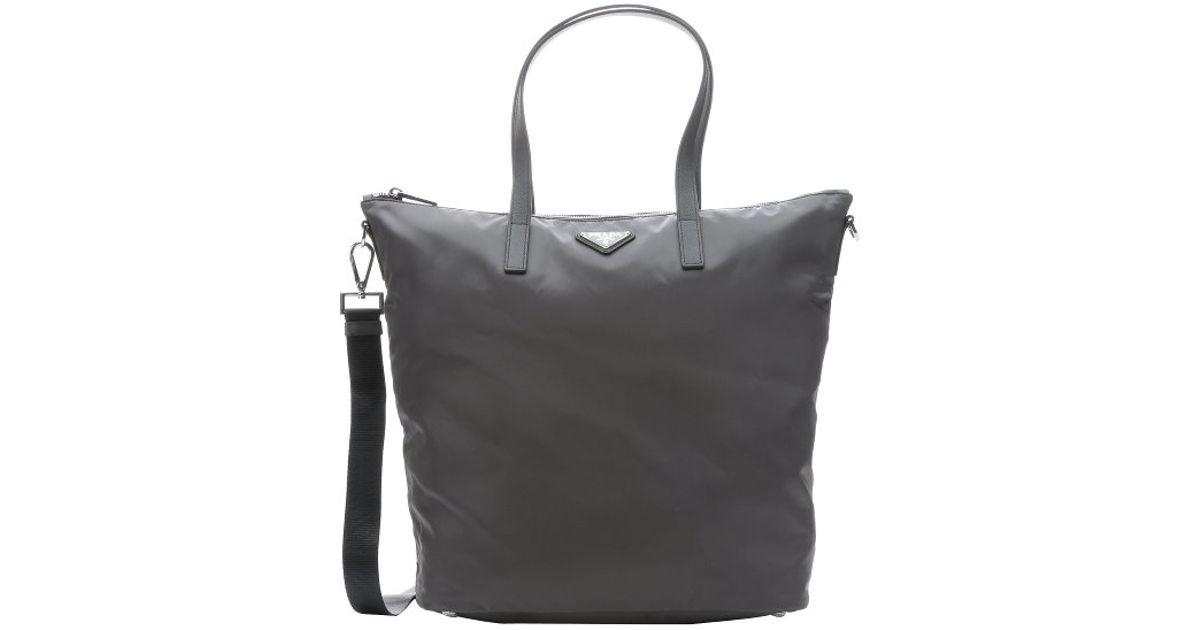 db380abd1689 ... bag acf25 5f5b8  promo code lyst prada grey gabardine nylon convertible  shopper tote in gray f22af 452bb