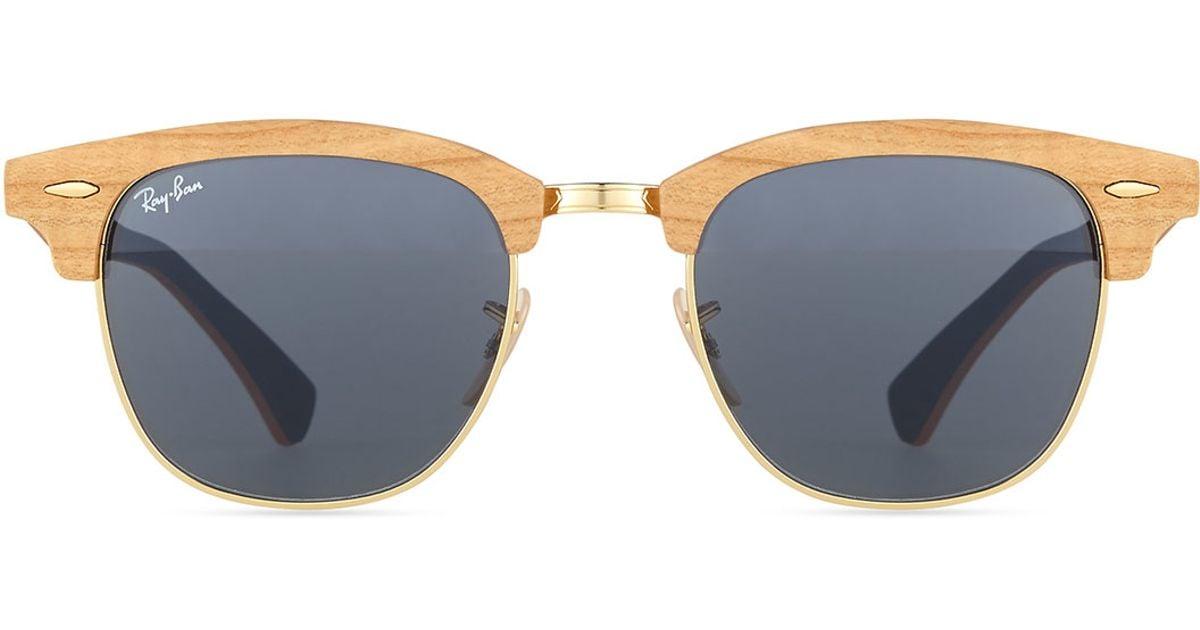 26913b607f ... australia lyst ray ban clubmaster wood sunglasses in blue 67226 19c44