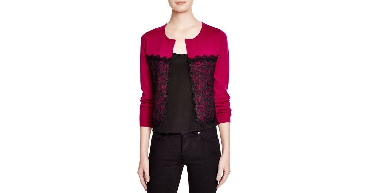 Nanette lepore Lace Overlay Cardigan in Pink | Lyst