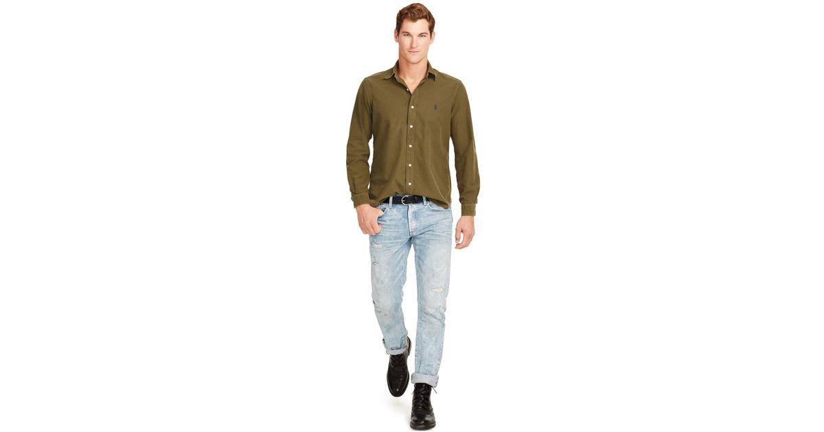 polo ralph lauren oxford shirt in green for men defender. Black Bedroom Furniture Sets. Home Design Ideas