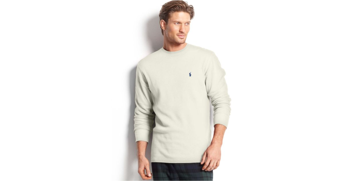 8b3bdcab15522 Lyst - Polo Ralph Lauren Big And Tall Long Sleeve Crew Neck Waffle Thermal  Top in Natural for Men