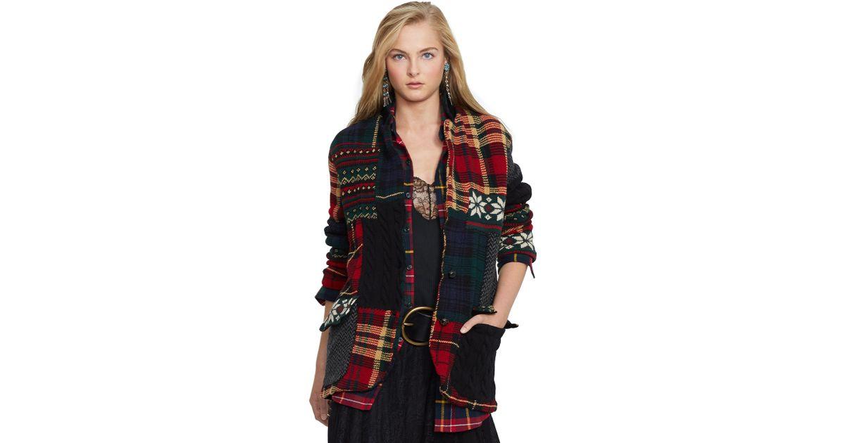 3ad4a027d Ralph Lauren Patchwork Wool Cardigan - Lyst